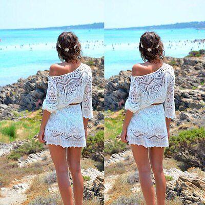 Sexy Women Summer Short Sleeve Lace Beach Evening Party Short Mini Dress