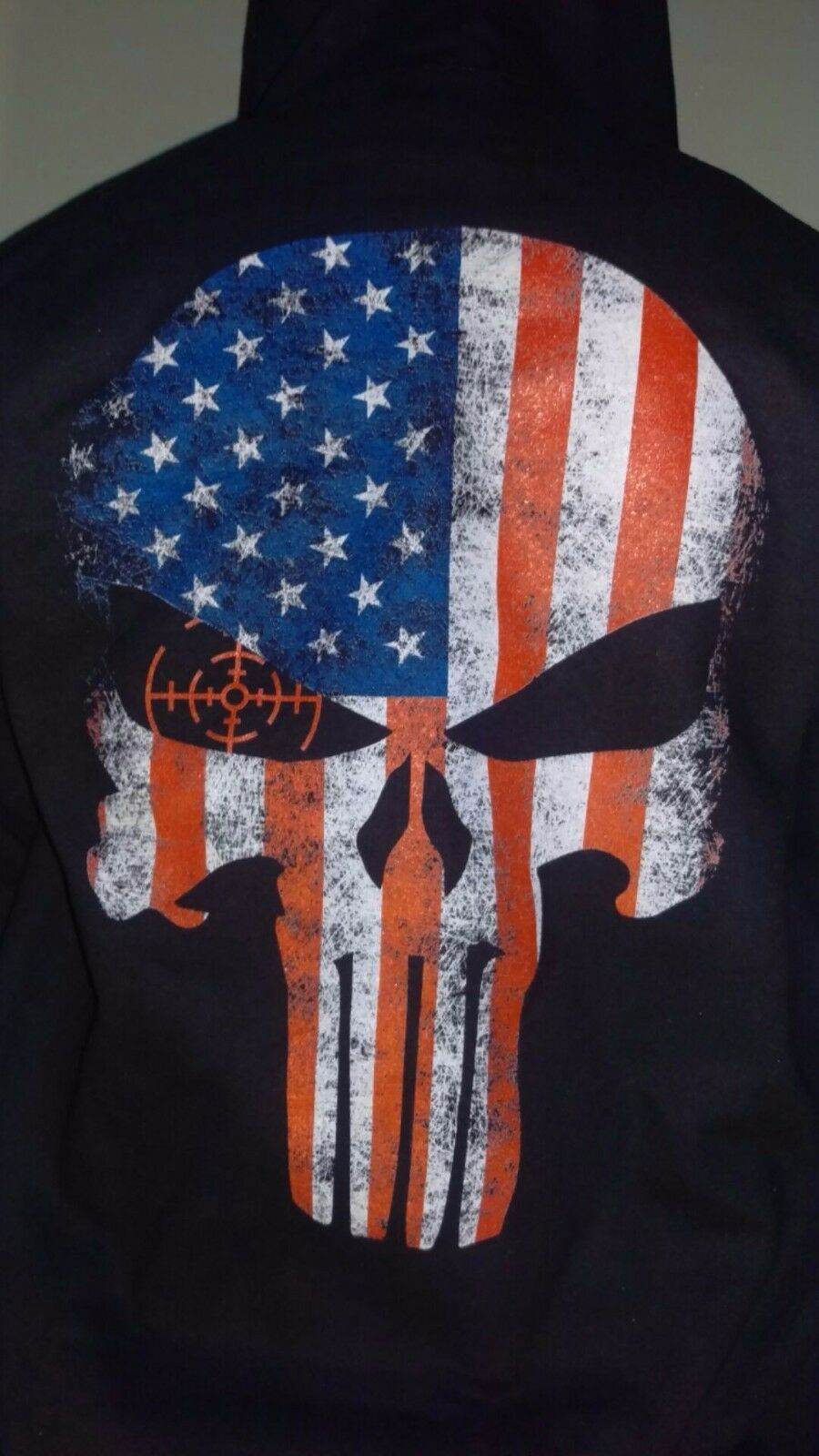 Punisher USA Flag Zip Down Hoodie July 4th skull tactical new military skull