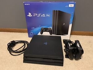 Sony PlayStation 4 Pro 1TB Console-Jet Black with 2 Controllers,Charger & Remote