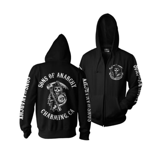 Officially Licensed Sons Of Anarchy CA Back Patch Print Zipped Hoodie S-XXL Size