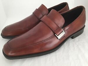 21442a8487 Details about ECCO Edinburgh Buckle Brown Leather Loafers Dress Shoes Men's  Size 46