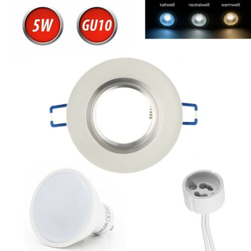 Einbaustrahler LED GU10 5W Glas Einbaurahmen Spot Deckenstrahler Frosted 230V