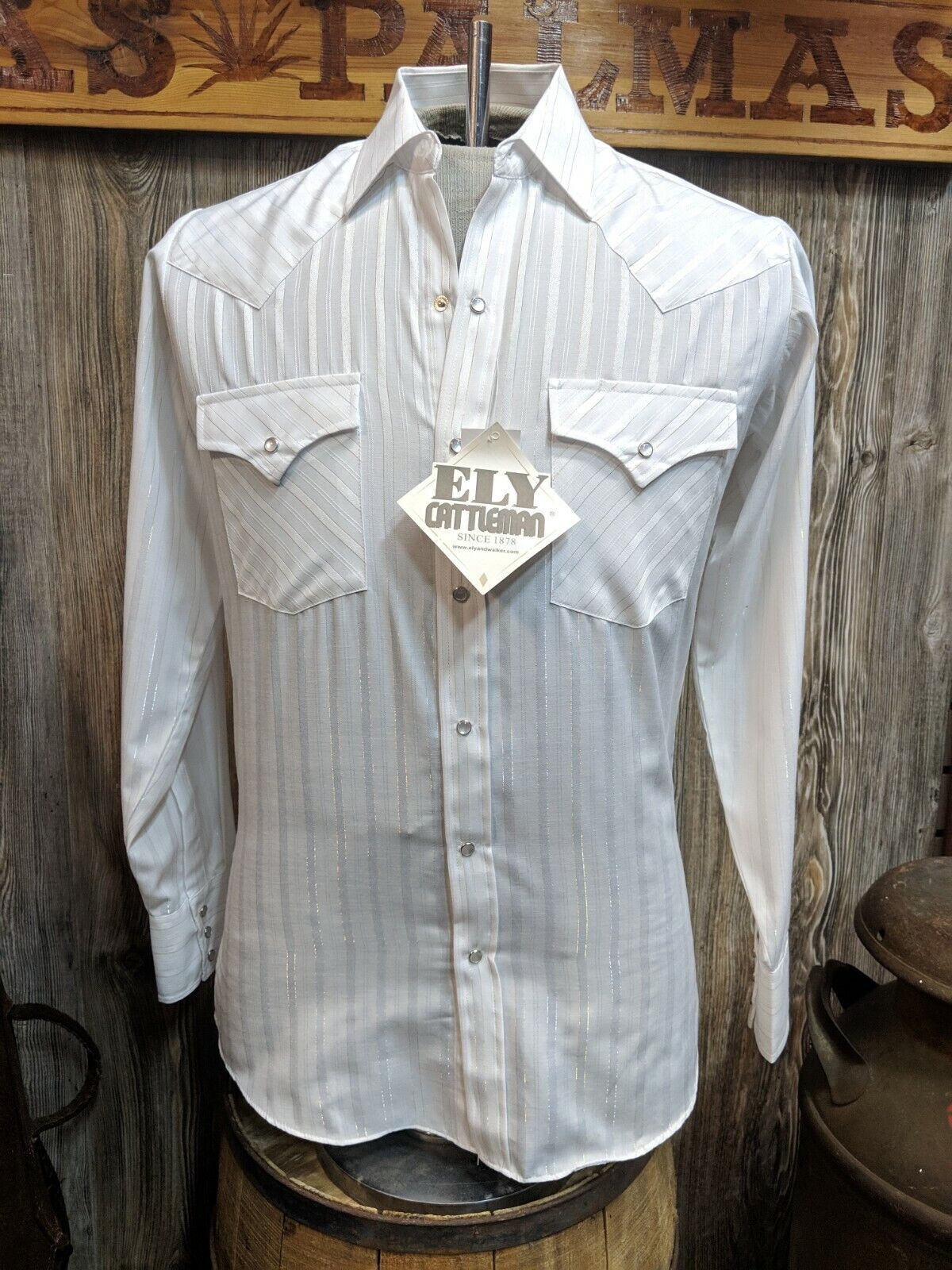 f3e37e862d ELY CATTLEMAN White Long Sleeve Snap Shirt Lurex Button nofakp7934-Casual  Button-Down Shirts