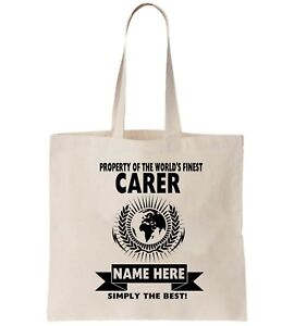 Image Is Loading Carer Personalised Tote Bag Shopper Amend Birthday Gift
