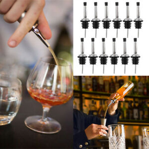 12 Stainless Steel Liquor Spirit Pourer Free Flow Wine Bottle Pour Spout Stopper