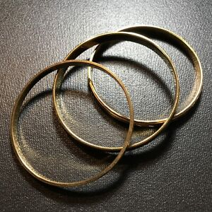 3-Vintage-Monet-Gold-Tone-Bangle-Bracelets-Brushed-Metal-Textured-Etched
