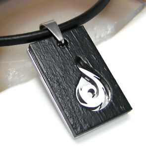 Edelstahl-Halskette-Herren-Anhaenger-Holz-Feuer-Drachen-Leder-Halsband-schwarz