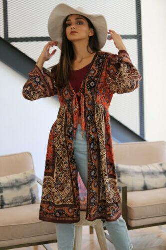 Angie Rust Tie Front Border Print Kimono F2240-FO29