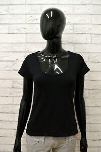 Maglia-LEVIS-Donna-Taglia-Size-M-Maglietta-Shirt-Woman-Cotone-Manica-Corta-Nero