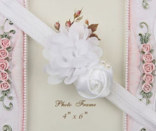 ★★★ NEU Baby Fotoshooting Haarband doppelblüte rose Perlenzierung ★★★Nr.AB5