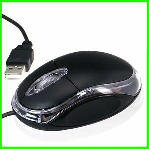 MOUSE USB OTTICO CON FILO NERO LUCE LED BLU PORTATILE NOTEBOOK PC COMPUTER