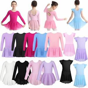 Girls-Ballet-Dance-Cotton-Dress-Gymnastics-Leotard-Tutu-Skirt-Dancewear-Costume