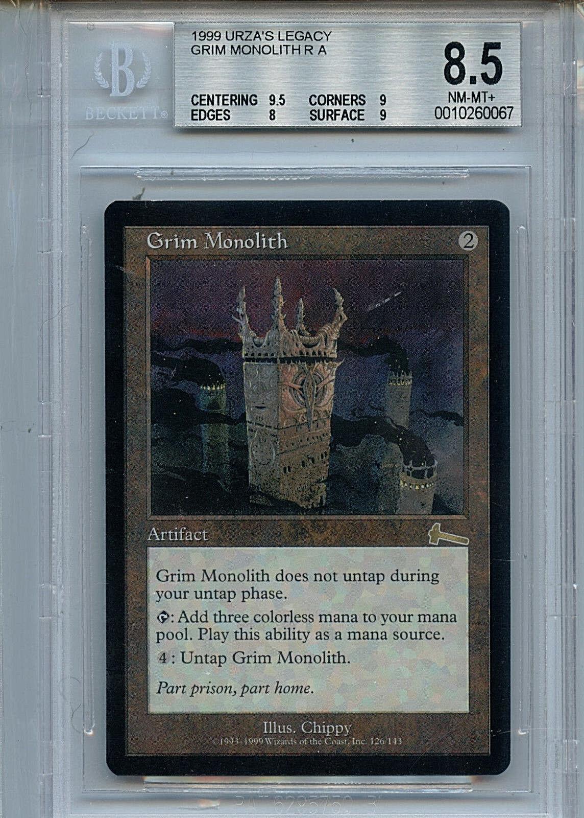MTG Urza's Legacy Grim Monolith BGS 8.5 NM MT+ WOTC Magic 0067