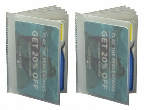 SET of 2-6 Page Plastic Wallet Insert for Bifold Billfold or Trifolds Neutral