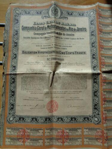 LOT DE 5 ACTION OBLIGATION RIO DE JANEIRO BRESIL 500 Fr. 1910