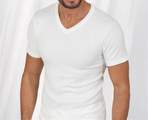 Pure White Men Premium 100% Cotton V-Neck Tag-less T-Shirt Undershirt S-XL