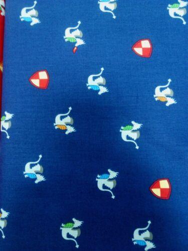 Michael Miller Good knight magic dragon blue 100/% cotton half metre,free p/&p,