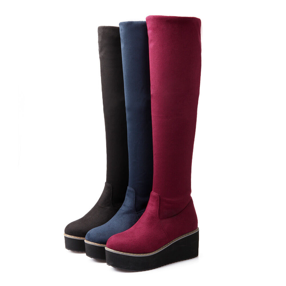 Hot Womens Winter Pull On Snow Platform Wedge Heel Knee High Boots shoes Plus SZ