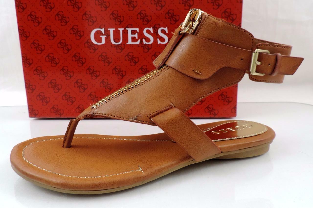 Guess Gastan Gladiator Flat Thong Sandals Zip Leather Medium Brown Size 6.5