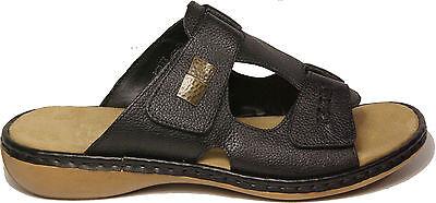 RIEKER Schuhe Pantoletten Klettverschluss echt Leder schwarz Keilabsatz NEU | eBay