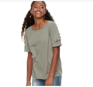 05806cfc86945 Mudd Lace-Up Sleeve Varsity T-Shirt In Olive Meadow Jr Size S NWT