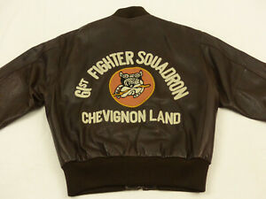 CHARLES-CHEVIGNON-LEDERJACKE-61-ST-FIGHTER-SOUADRON-BULLDOGGE-GR-XL-WIE-NEU