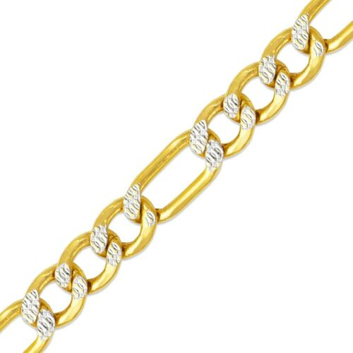 2-7.5 mm 14K Or Jaune Homme//Femme Creux Figaro Blanc Pave Chaîne Collier