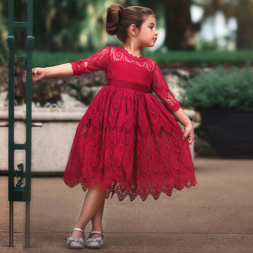 Toddler Kid Baby Girl Lace Flower Princess Tulle Party Pageant Dresses Clothes X