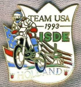 1993-FIM-Six-Days-TEAM-USA-Motorcycle-PIN-Badge-ISDE-Holland-ISDT-Enduro