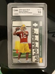 2005-UPPER-DECK-PREMIERE-AARON-RODGERS-GREEN-BAY-PACKERS-ROOKIE-GMA-10-BGS-PSA