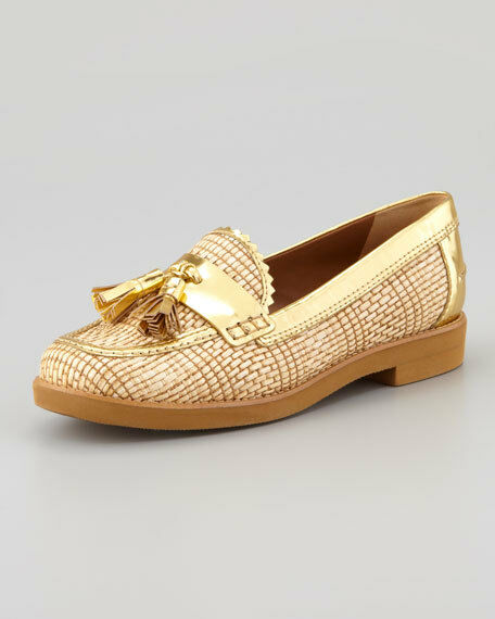 Tory Burch Careen Metallic-Raffia Runway Tassel Loafer Shoes Gold 295