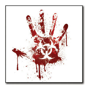 White Bloody Handprint Biohazard Sticker Car Bumper