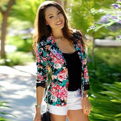 Fashion Women Slim Long Sleeve Floral Blazer Suit Short Jacket Coat Outwear HOT
