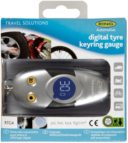 Ring RTG4 Mini Keyring Car Van Bike Caravan Digital Psi Bar Tyre Pressure Gauge