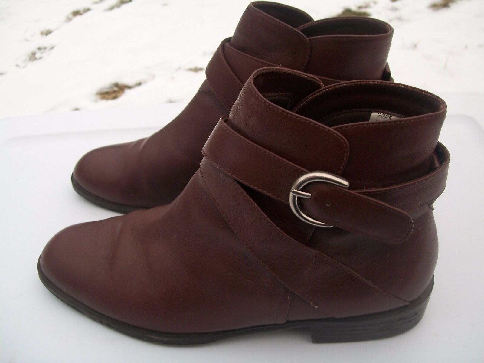 Danexx Womens Size 8M Brown Leather Double Strap Ankle Boots