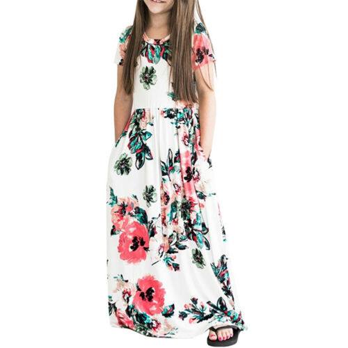 Kids Girls Summer Floral Long Maxi Dress Casual Party Beach Sundress with Pocket