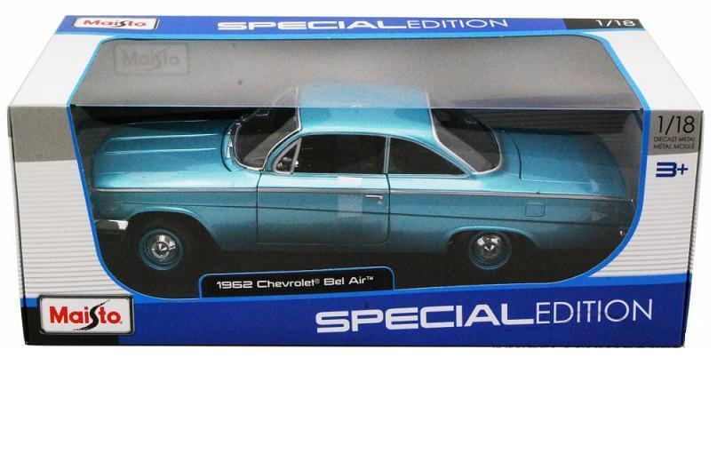 Maisto 1 18 1962 Chevrolet Bel Air Hard Top Diecast Model Car Turquoise (31641)