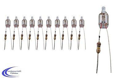 10 Stk. mini Neon Glimmlämpchen 230V - Miniatur Lämpchen - Glühlämpchen