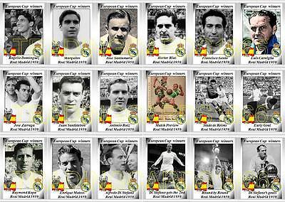 Real Madrid europea de Copa Ganadores 1960 fútbol Trading Cards