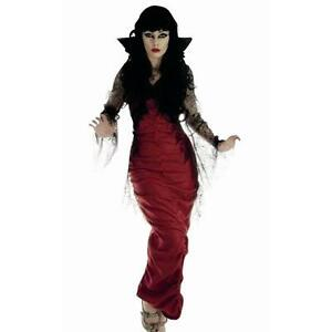 Image is loading Ladies-Halloween-Red-V&ire-Dress-With-Spider-Web-  sc 1 st  eBay & Ladies Halloween Red Vampire Dress With Spider Web Lace Arms And ...