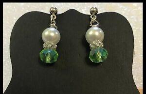 EMERALD-GREEN-amp-PEARL-Stud-Post-Dangle-Earrings-Jewelry-Set-Handmade-USA