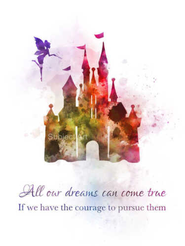 Wall Art Nursery Disney Castle Quote ART PRINT Princess Gift Tinker Bell