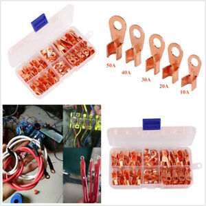 90 Pcs Car Auto Copper Ring Lug Open Barrel Wire Crimp Connector Kit 8 Types