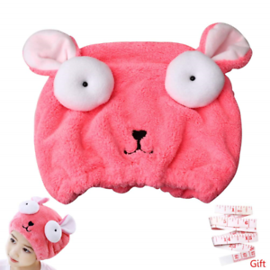 nuoshen Kid/'s Hair Drying Wrap Hat Cute Bunny Absorbent Soft Microfiber Quick