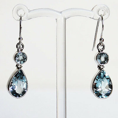 925 Sterling Silver Semi-Precious Faceted Blue Topaz Drop Earrings