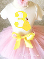 Beauty and the Beast Belle Princess Girl 3rd Birthday Tutu Outfit Set Shirt