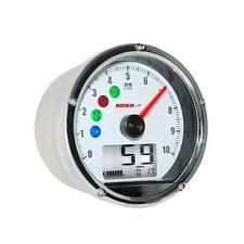 KOSO Speedometer Speedo Combined Speed/RPM Warning Lights cafe racer Wht/chm