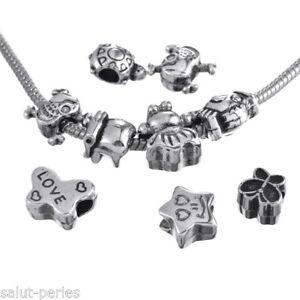 5 Mixte Perles Patte d/'Ours Européen Grand Trou Pour Bracelet Charm 11x11mm