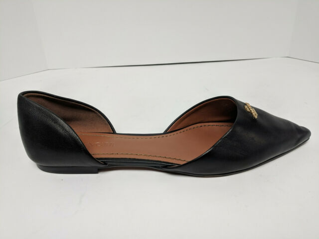 Coach Leather Pointy Toe Flats Black