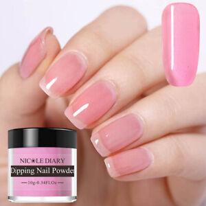 NICOLE-DIARY-Pink-Glazed-Dipping-Powder-Acrylic-Tips-Nail-Art-No-UV-Gel-ND-K06